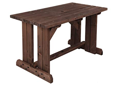 MC TIMBER PRODUCTS LTD 5ft Garden Table in Rustic Brown Stain - Garden Furniture - BBQ Table - Dining Table