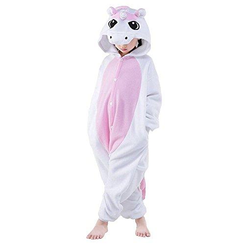 KiKa Monkey Kinder Einhorn-Karikatur-Flanell-Tierneuheit-Kostüme Cosplay Pyjamas (Größe 125: 135-144cm, Rosa-Flügel) (Cute Kid Kostüme Für Halloween)