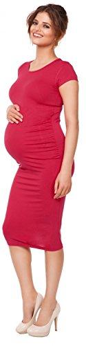 Happy Mama. Damen Umstands Figurbetontes Kleid. Schwangerschaftskleid. 183p Himbeere