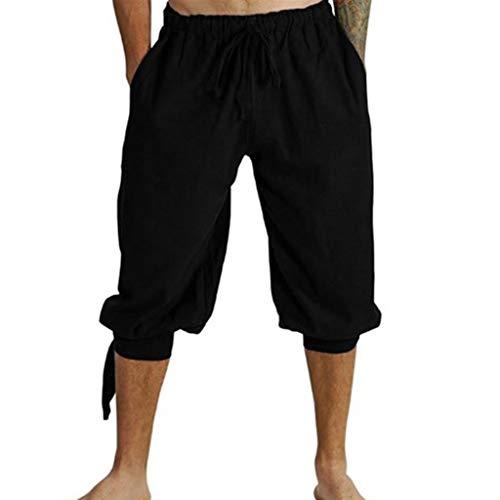 Herren Mittelalterhose Wikinger Kostüm Lose Knielang Freizeit Kurze Hose Einfarbig Strand Sporthose Übergröße - Wikinger Kostüm Muster
