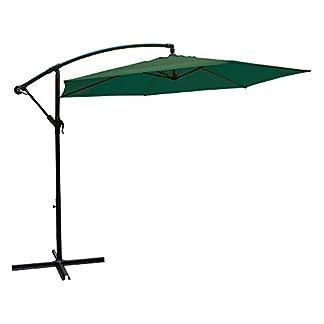 Aktive Garden 53886 – Parasol Excéntrico Banana Diámetro 270 cm, Mástil de Aluminio Diámetro 48/42 mm, Verde