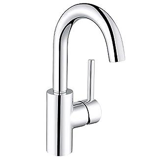 31P5msr9OkL. SS324  - Amzdeal Grifo de lavabo, Grifos de baño con cartucho de cerámica, Grifería para lavabo con aireador alveolar, Mezclador grifo en latón, color plateado y cromado