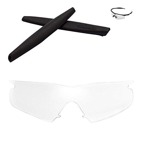 Walleva Wechselgläser Und Earsocks für Oakley M Frame Hybrid Sonnenbrille - Mehrfache Optionen (Klare Linsen + schwarzer Gummi)
