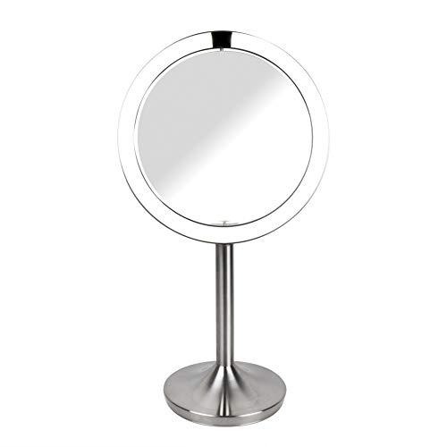 HoMedics drehbarer Kosmetikspiegel mit Annäherungssensor, vergrößernder LED-Spiegel, stabiler Stand, helle Beleuchtung, verzerrungsfreier Spiegel, 7-fache Vergrößerung, kabellos und wiederaufladbar -