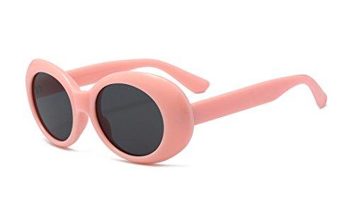 BOZEVON Retro UV400 Damen Herren Oval Sonnenbrille Schutzbrillen Rosa-Schwarz C5