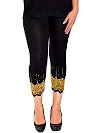c4a363d7a00 Nouvelle Collection New Womens Plus Size Leggings Ladies Scallop Edge  Sequins Detail Hem Elasticated Cropped Soft