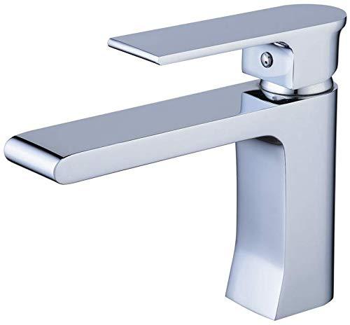 ZHYF Wasserhahn Chrom Finsh Waschbecken Mischbatterien, heißen und kalten Einhand-Monoblock-Hahn, Messing Armatur Waschbecken Wasserhahn -