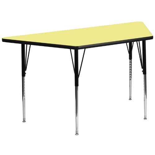Flash Möbel Trapez Activity Tisch mit grau Fused Laminat Thermal Top/Standard Höhe verstellbare Beine, gelb, 26.25
