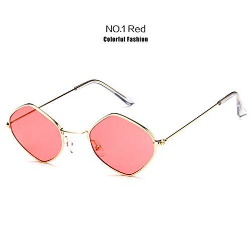 Li Kun Peng Kleine Sonnenbrille Frauen Vintage Metall Hexagon Klar Rosa Sonnenbrille Männer Retro Brillen Uv400 Brillen,C1Red