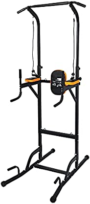 SKY LAND Pro Home Workout Steel Power Tower- Multifunction Adjustable Height Station for Dip Stand, Pull &