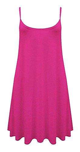 Glockiges Kleid Damen Weste Einfarbig Ärmellos Top Plus Größe Skater - Fuchsia, Damen, S/M (36-38) (Plus Größen Fancy Kleid)