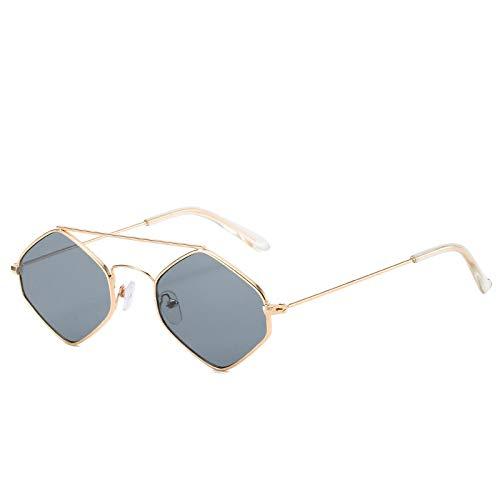 Yangjing-hl Kleine Box Sonnenbrille Persönlichkeit Polygon unregelmäßige Gläser Farbverlauf Sonnenbrille weiblichen Goldrahmen grau Stück