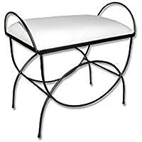 HOGARES CON ESTILO - Banqueta de forja nacional Modelo Asas /604D, color chocolate con asiento pretapizado en color blanco. Medidas 60 x 38 x 50 cm de alto (Varios colores disponibles). - Muebles de Dormitorio precios