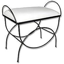 HOGARES CON ESTILO - Banqueta de forja nacional Modelo Asas /604D, color negro con asiento pretapizado en color blanco. Medidas 60 x 38 x 50 cm de alto (Varios colores disponibles)