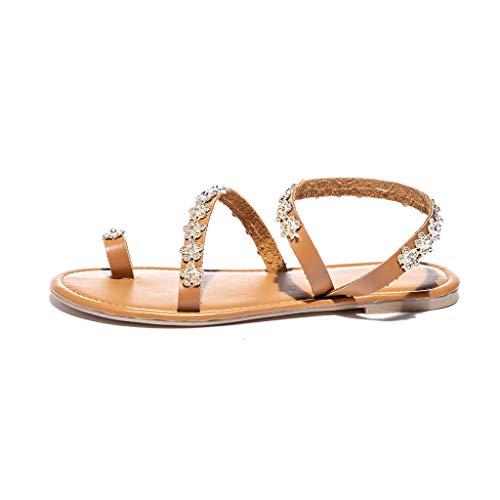 VECDY Damen Schuhe,Räumungsverkauf-Mode Frauen Sommer Feste Flache Kristall Hausschuhe Strand Sandalen römische Schuhe Hausschuhe Sandalen