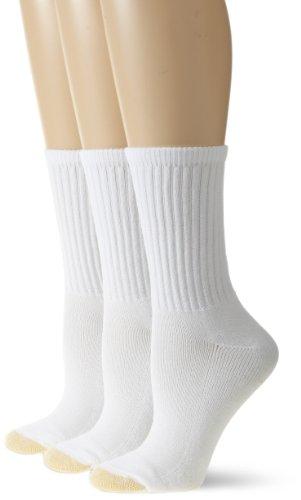 Gold Toe Damen Hydro Teck Crew Socken, Übergröße, 3 Paar - Weiß - Einheitsgröße -