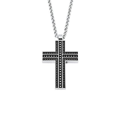 s.Oliver Herren Kette mit Kreuz-Anhänger Edelstahl schwarz matt 50cm