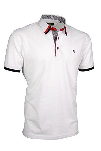 Premium-Poloshirt von Giorgio Capone, einzigartiger Hemdkragen, Pique-Stoff 100% Baumwolle, weiß, Regular Fit (XL) -