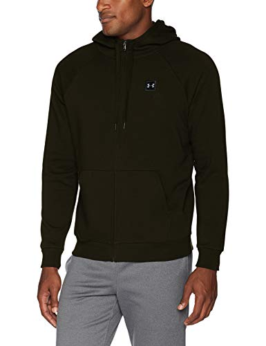 Under armour, rival fleece fz hoodie, felpa in pile, uomo, verde (artillery green/nero), s