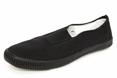 Unisex Slip On School Plimsolls art no 7231 (Juniors Shoe size 1, BLACK)