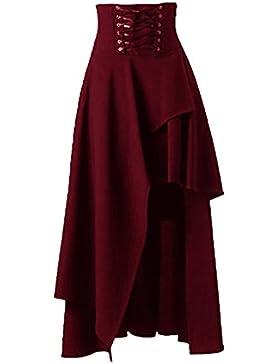 iBaste Vintage Mujer Cintura Alta Falda Ankara Estilo Gótico Lolita Falda Larga Lace-up Playa Boho Dress