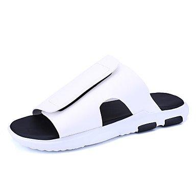 Slippers & amp da uomo;Luce Estate Soles Vacchetta casuale unito spaccato Nero Bianco Walking Sandal sandali US8 / EU40 / UK7 / CN41