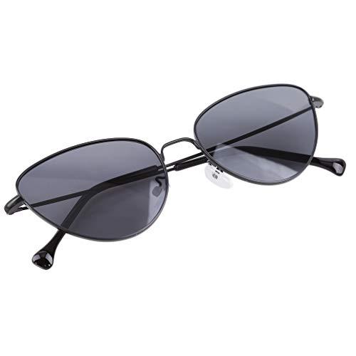 LnLyin Katzenaugen-Sonnenbrille-ovaler Schatten-Spiegel-Objektiv Weinlese-Retro- Eyewear Art- und Weisegläser für Frauen und Männer, Schwarzer Rahmen Volles Grau