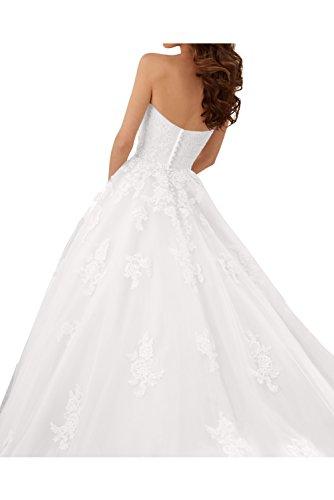 Ivydressing Damen Romantisch Spitze Brautkleider Herzform Hochzeitskleider-58-Weiss