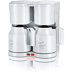 SEVERIN Duo-Kaffeemaschine, Für gemahlenen Filterkaffee, 2x 8 Tassen, Inkl. 2 Thermokannen und Teefilter, KA 5827, Weiß (Zertifiziert und Generalüberholt)
