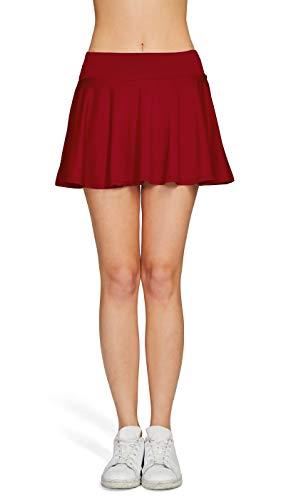 HonourSport Damen Tennisrock Skirt Minirock Sport Fitness Yoga Skort Falten Rot L