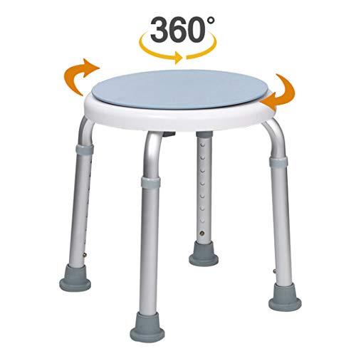 Vinteky Tabouret de Douche pivotant à 360°Hauteur réglable aide à la douche siège de bain antidérapant en aluminium pour personnes âgées, femmes enceintes