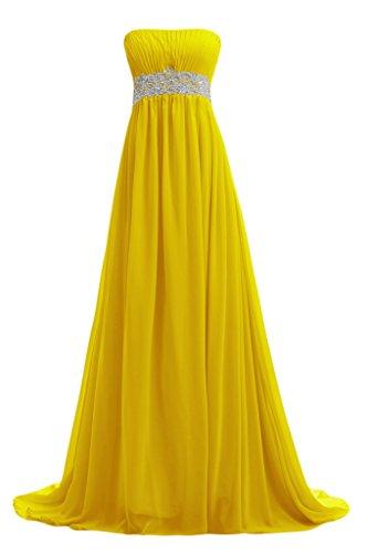 Sunvary Elegant Neu Traegerlos Chiffon Lang Steine Abendkleid Ballkleider Golden