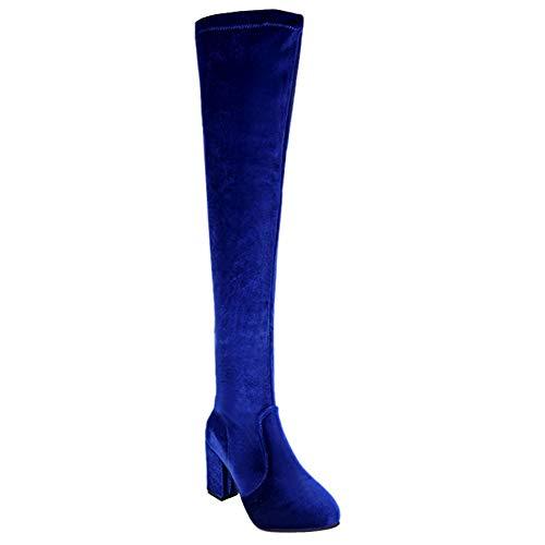 Huatime lunga coscia alta stivali donna - tacco spesso sopra il ginocchio gamba stivali lunga elasticizzato pelle blocco tacchi scarpe inverno casual nero moda