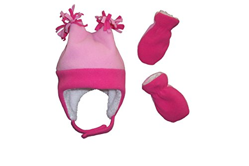nice-caps-girls-4-corner-sherpa-lined-fleece-hat-and-mitten-set-12-18mo-fuchsia-pink-infant