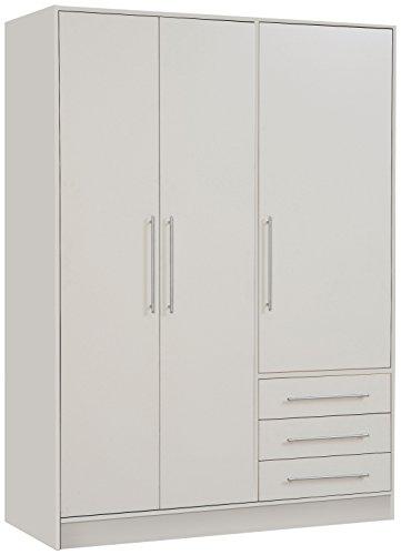 NEWFACE Jupiter Kleiderschrank 3-türig, 3 Schubkästen, Holz, weiß matt, 144.6 x 60 x 200 cm
