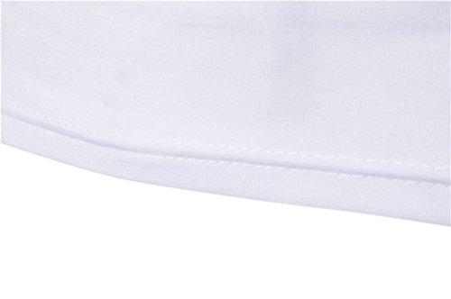 ZhiYuanAN Uomo T-Shirt A Maniche Corte Moda Magliette Con Il Tasto Sulla Decorazione Della Spalla Tinta Unita Girocollo Tee Bianco