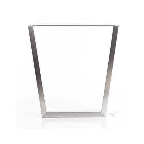 Tischgestell Trapez-R-Form modern I 70 x 30 mm Profil I hochwertiger Edelstahl gebürstet I 72 cm hoch I Indoor & Outdoor I Untergestell für Ess-, Schreib-, Gartentisch etc. I 1 Stück