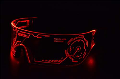 Cyberpunk Sonnenbrille mit LED-Beleuchtung, perfekt für Cosplay und Festivals, Cybergoth rot