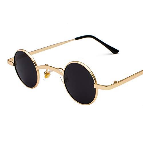 WJMLHLKK Retro Mini Sonnenbrille Runde Männer Metallrahmen Schwarz Kleine Runde Gerahmte Sonnenbrille Für Frauen Unisex Uv400