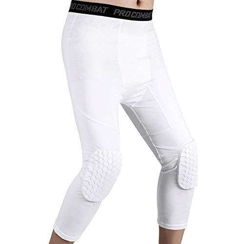 REDSHORE Basketball Sport Hosen ¾ Compression Hosen mit Knieschützer, Anti-Kollisions-Knieschoner Unterstützung für die Jugend Boys - Männer Knieorthese (White,L)