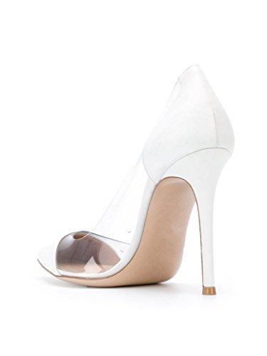 EDEFS Damen PVC Transparent Spleißen Pointed-toe Stiletto Abendschuhe 10cm 3.9in Pumps Weiß