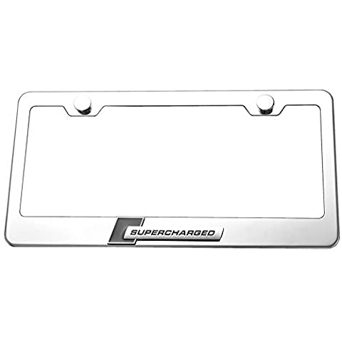 Supercharged 3d Chrome Emblem License Plate Frame Chrome New by Licence plate frame