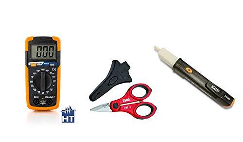 HT Kit Promo HT14D Multimetro digitale tascabile - AC/DC fino a 500V + HT20 Strumento Cercafase Elettronico + Forbice per elettricista Usag 207 N in omaggio