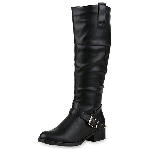 Damen Reiterstiefel Schnallen Metallic Lederoptik Stiefel Schuhe Schwarz Black 37 (Kostüme Reitstiefel)