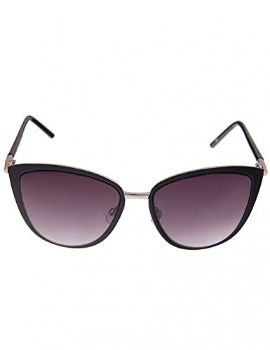 Leslii Sonnenbrille Classic Cateye Katzenaugen Damen Designerbrille Sunglasses Metallrahmen Ø Glas inkl. Brillenrand 5,3cm Schwarz