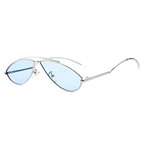 Lxc Persönlichkeit Stil Moderne Kleine Brille Europa Und Den Vereinigten Staaten Trend Street Shot Sonnenbrille UV400 Schutz Unisex Silbernen Rahmen Zeige Temperament (Farbe : Blue)