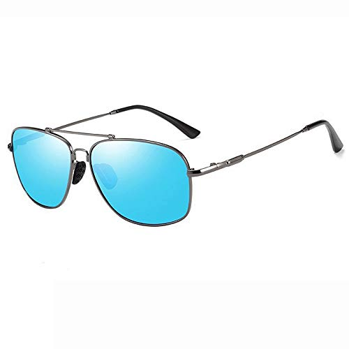 Runde Sonnenbrille Für Männer Frauen Aviator UV 400 Objektiv Mode Brille (Farbe : Blau, Größe : Casual Size)