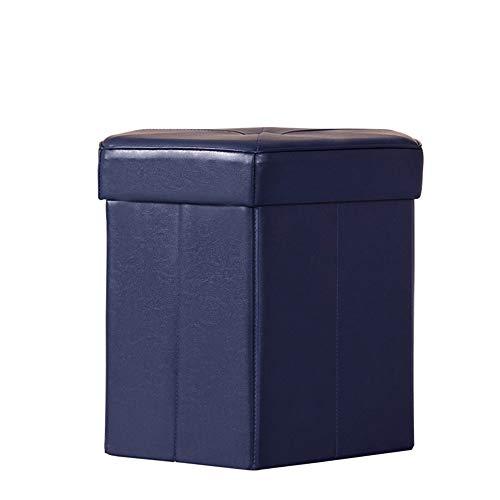 Einrichtungsgegenstände Collapsible Hexagon Storage Ottoman,Leder Hochleistungsklappbarer Aufbewahrungshocker,Blau