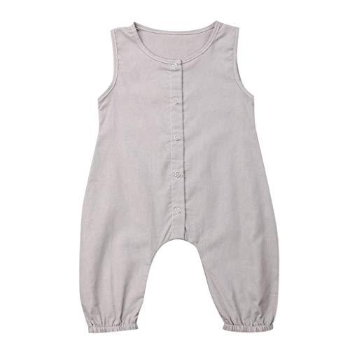 nfarbige Ärmelloser Overall mit Knopf, Mode Overall Sommer Baumwollmischung Strampler Atmungsaktive Outfits Bequemes Baby-Krabbelkostüm ()