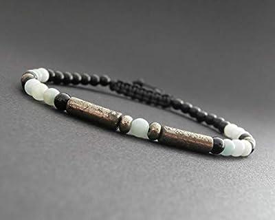 Bracelet fin homme, pierres naturelles, amazonite, onyx et tubes arrondis en pyrite